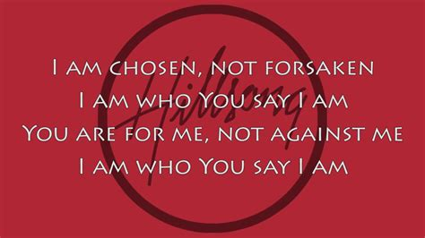 Who I Am With You hillsong worship who you say i am lyric