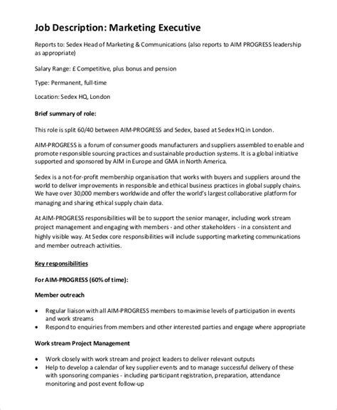 sales marketing executive description marketing executive description description
