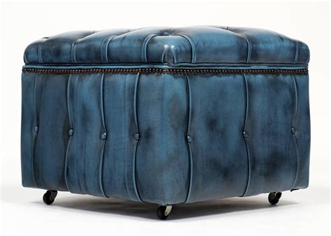 Vintage Steel Blue Leather Chesterfield Storage Ottoman At Storage Ottoman Blue