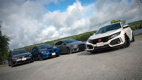 subaru honda honda civic type r vs subaru wrx sti vs vw golf r vs ford