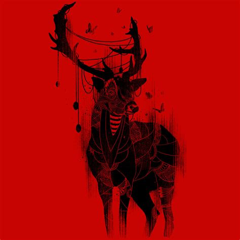 art design deer in the red light by design by humans on deviantart
