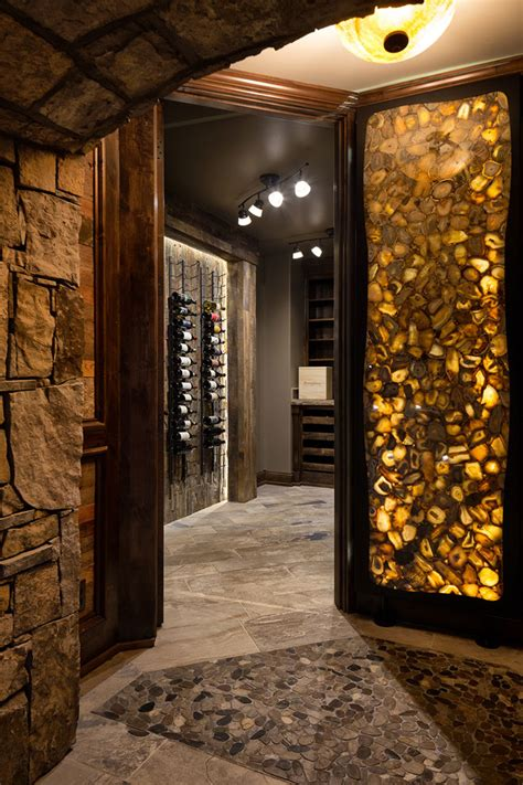 mountain style home wine room