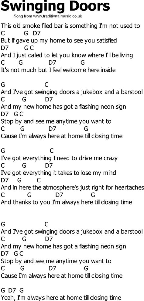 Old Country Song Lyrics With Chords Swinging Doors