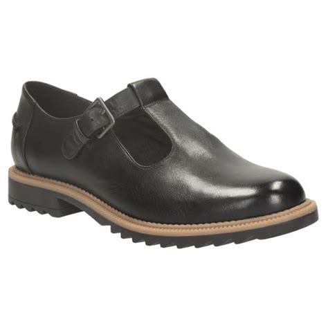 clarks womens griffin monty black leather t bar shoe