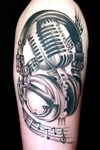old microphone tattoo idea
