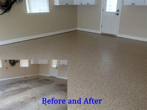 Cost To Paint Concrete Floor by Admirable Epoxy Garage Floor Before After
