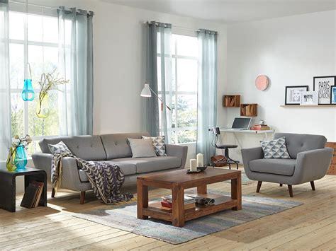 wohnzimmer nordisch retro sofa kingsley 3 sitzer grau massivum