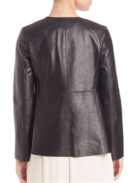 draped leather jacket eileen fisher draped leather jacket in black lyst