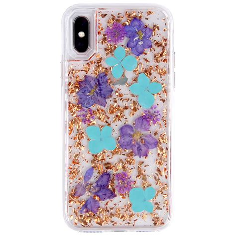 wholesale iphone xr 6 1in luxury glitter dried flower petal clear hybrid bronze blue