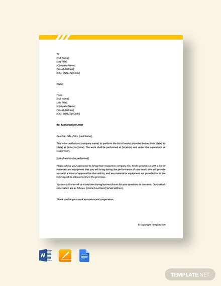 authorization letter perform work template word