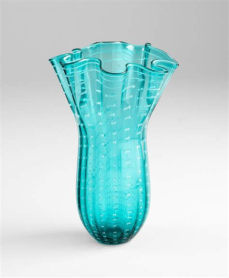 small sea blue glass vase by cyan design