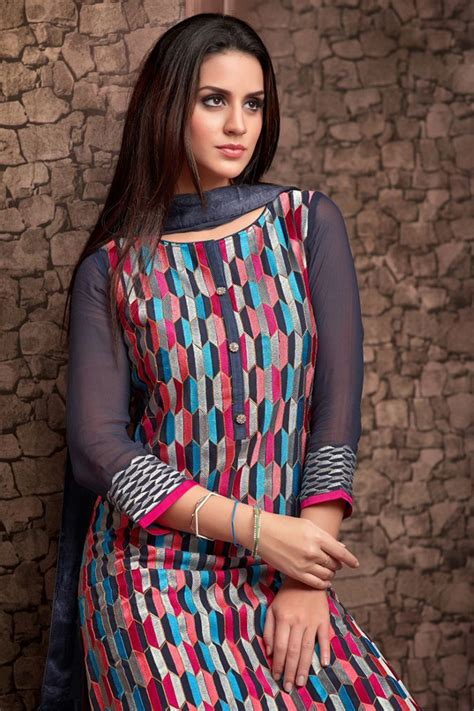 boat neck indian dress grey multicoloured georgette salwar suit with boat neck