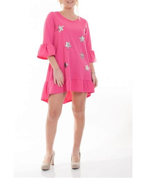 Tunic Dress Jumbo Big Size Nanda large size tunic dress cloutee 6065 fushia grossiste pret a porter