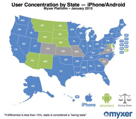 usa map android stats android beats iphone in the midwest nexus one is