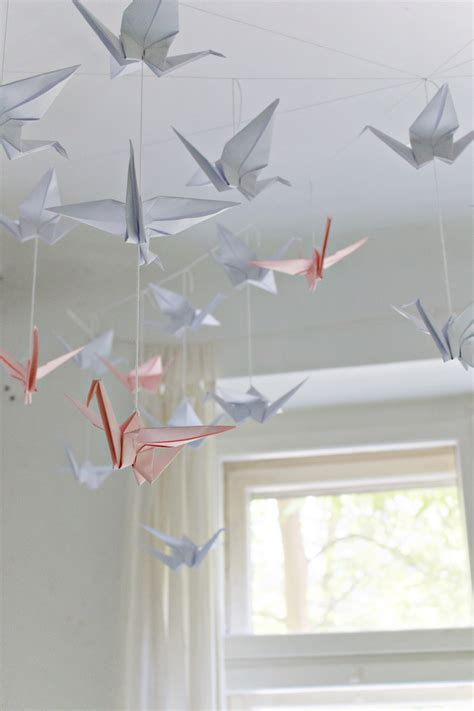 How To Make Origami Hanging Decorations - diy renters friendly origami ceiling decoration