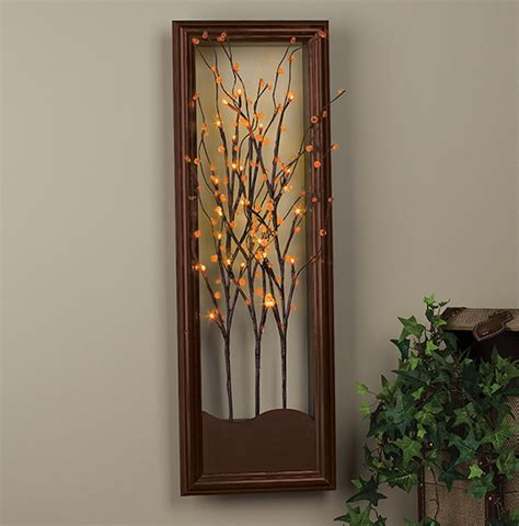 wall art design ideas tree lighted wall art plant green