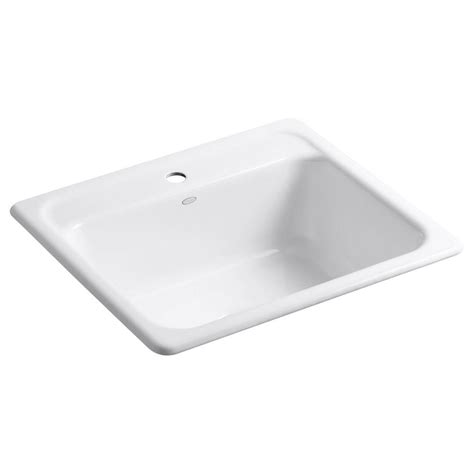Kitchen Sink Basin Racks Kohler Mayfield Drop In Cast Iron 25 In 1 Single Basin Kitchen Sink In White With Basin