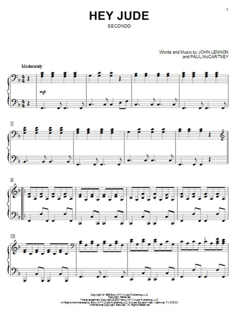 tutorial piano hey jude hey jude sheet music by the beatles piano duet 58363