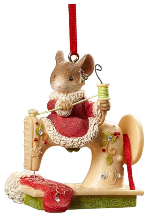 enesco heart of christmas mouse sewing machine ornament