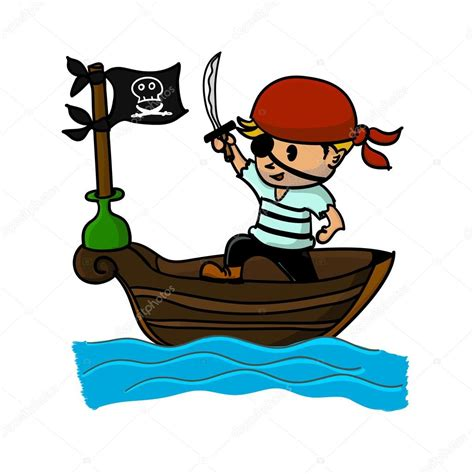 dibujos animados barcos piratas dibujos animados pirata en barco vector de stock
