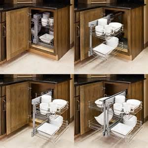 Corner Cabinet Storage Solutions Kitchen Homethangs Has Introduced A Guide To Pull Out Cabinet Organizers For A Small Kitchen