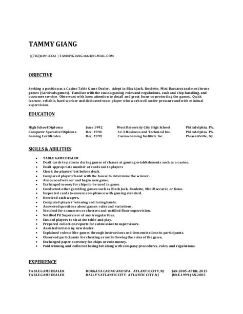 Casino Floor Supervisor Sle Resume by Resume Exles Casino Dealer 28 Images Casino Host Cover Letter Sle Livecareer E Portfolio