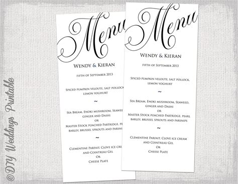 menu template black and white wedding menu diy wedding menu