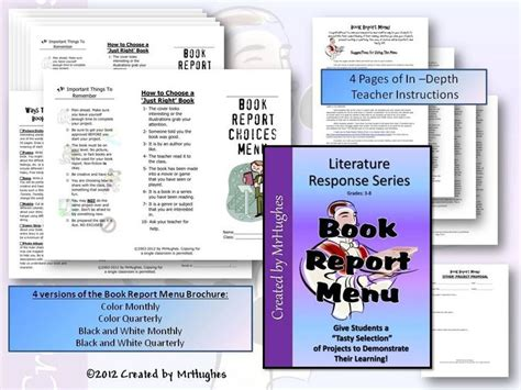 book report menu this book report menu kit is just what you need to get