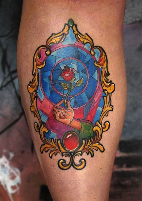 stained glass window tattoo finished and the beast stained glass window