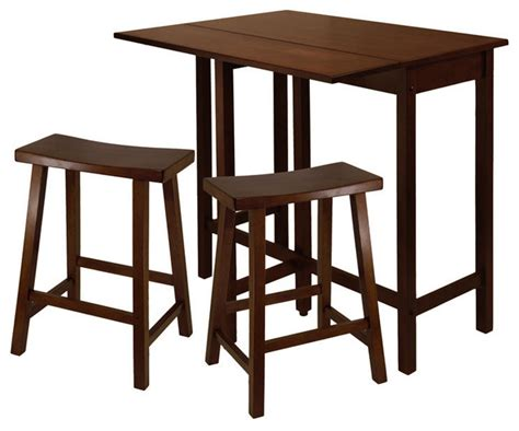 Drop Leaf Bistro Table Winsome Wood Lynnwood 3 High Drop Leaf Table With Saddle Seat Stool 24 Quot Traditional
