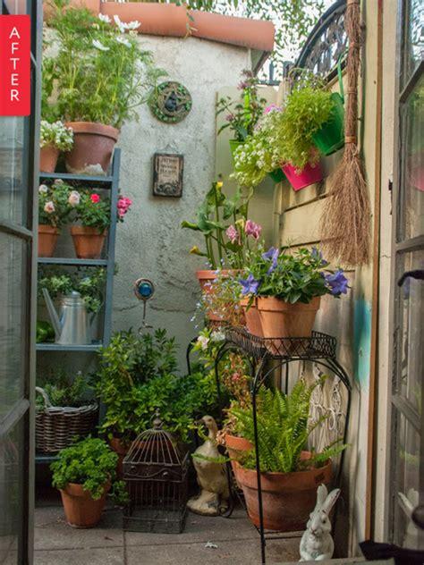 before after plain patio to secret garden apartment