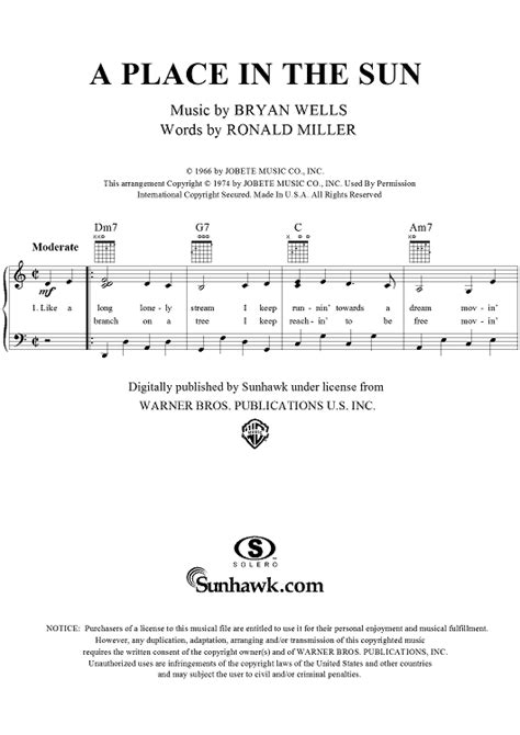 A Place Piano A Place In The Sun Sheet For Piano And More Onlinesheetmusic
