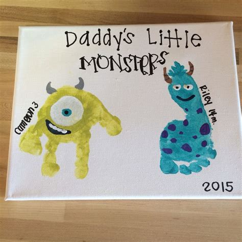 s day gift monsters inc toddler handprint canvas