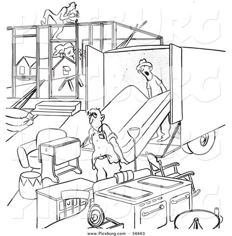 moving van coloring page clip art of a retro vintage man moving into an incomplete