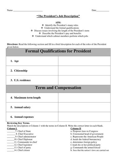 Presidential Cabinet Worksheet by The President S Description And The Cabinet Worksheet