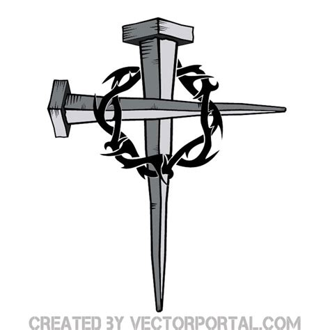 tattoo cross made of nails cross of nails with thorn free vector 123freevectors