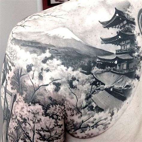 japanese mountain tattoo designs japanese temple mountain trees clouds