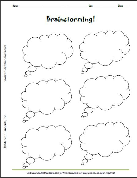 printable brainstorming thought bubbles worksheet