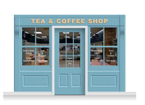 Shop Front Doors 3 Drop Leamington Shop Front Tea Coffee Shop Mural 240cm Door Print