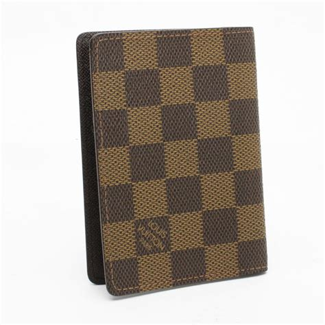 louis vuitton brown damier ebene id card holder small wallet tradesy
