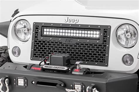 jeep jk led light bar mesh replacement grille with 20in led light bar for 2007