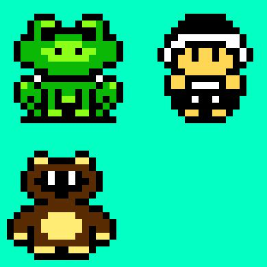 Drawing 8 Bit Characters by Mario Bros 3 Power Ups Pixel Maker