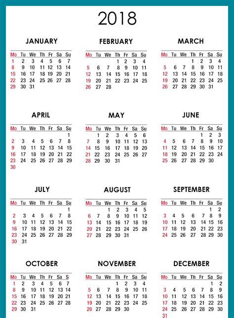 simple calendar 2018 one year glance stock vector 750748699