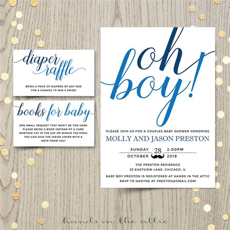 Boy Baby Shower Invitations by Oh Boy Baby Shower Invitation Printable Stationery