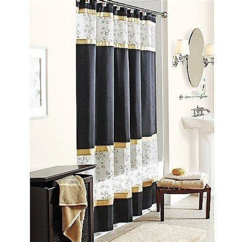 gold kitchen curtains spice garden fabric shower curtain black gold w sheer white embroidered home kitchen