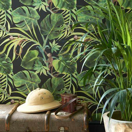 monkey business papier peint revetement mural intisse lavable motif tropical fantaisie pas cher