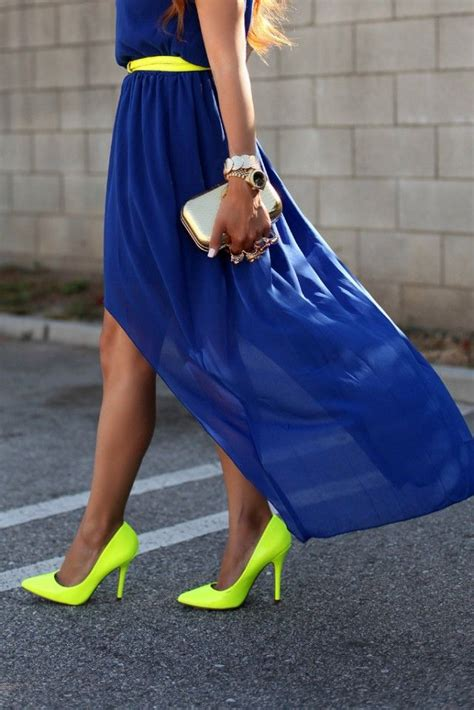 neon yellow heels and neon yellow belt with royal blue