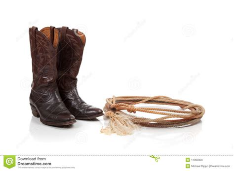 brown leather cowboy boots on white royalty free stock