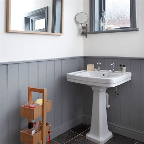 White And Grey Bathroom Ideas Grey And White Panelled Bathroom Bathroom Decorating Ideal Home