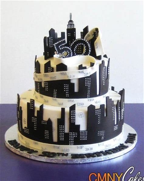 Cak New Black 50th birthday black and white nyc themed cake cmny cakes